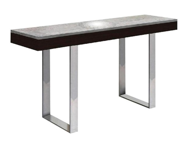 Casabianca Home Glacier Light Gray Marbled Wenge High Polished Stainless Steel Console Table CASA-CB-3451-CONSOLE