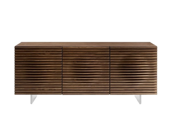 Casabianca Home Moon Walnut Veneer and Brushed Stainless Steel Buffet Server CASA-CB-3776-WAL