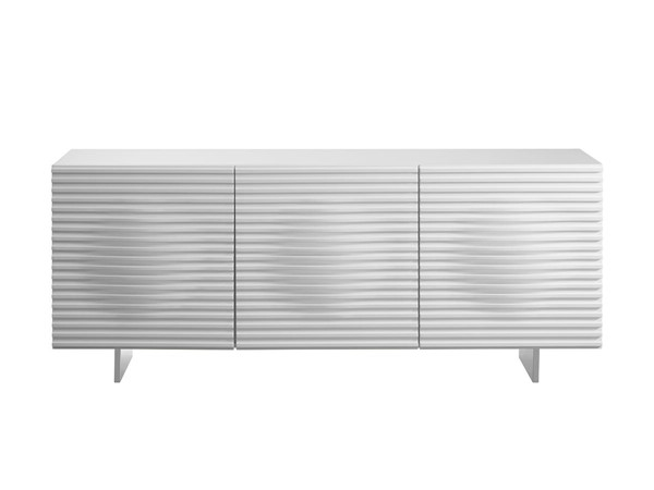 Casabianca Home Moon White Lacquer and Brushed Stainless Steel Buffet Server CASA-CB-3776-WH