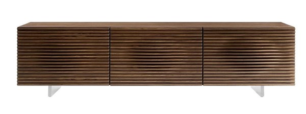 Casabianca Home Moon Walnut Veneer and Brushed Stainless Steel Entertainment Center CASA-CB-4920TV-WAL