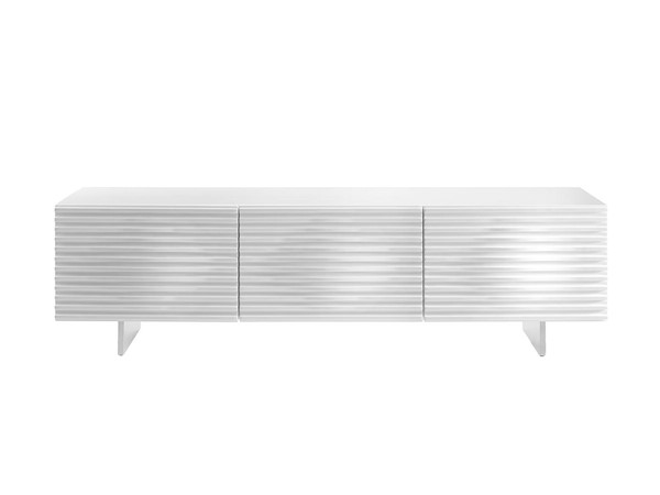 Casabianca Home Moon White Lacquer and Brushed Stainless Steel Entertainment Center CASA-CB-4920TV-WH
