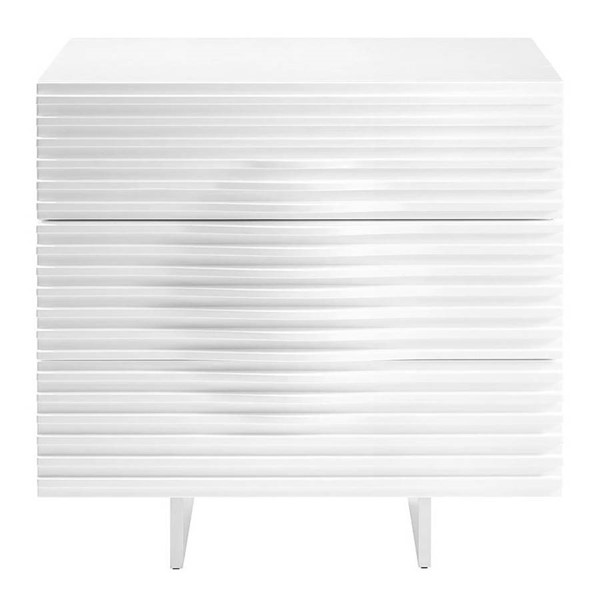 Casabianca Home Moon White Veneer and Brushed Stainless Steel Night Stand CASA-CB-4995-3N-WH