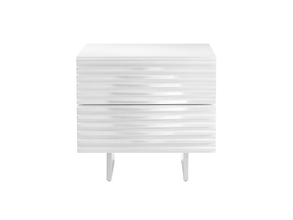 Casabianca Home Moon White Lacquer and Brushed Stainless Steel Nightstand CASA-CB-4995N-WH