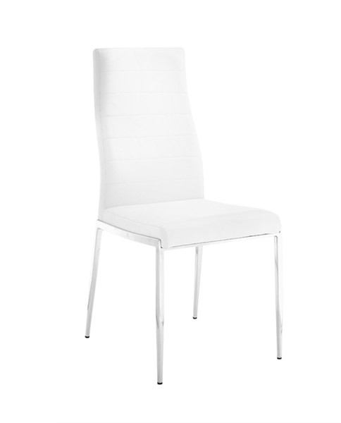 Casabianca Home Firenze White PU Leather and Stainless Steel Base Dining Chair CASA-CB-511WH