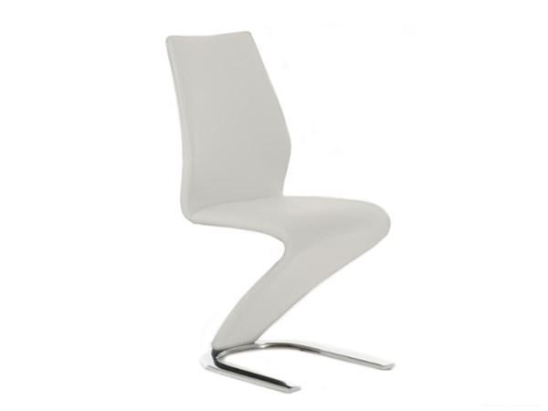 Casabianca Home Boulevard White PU Leather and Stainless Steel Base Dining Chair CASA-CB-6606-W