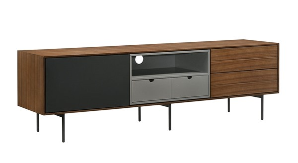 Casabianca Home Calico Walnut Wood Veneer and Gray Matte Painted Accents Entertainment Center CASA-CB-662
