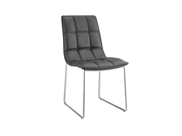 2 Casabianca Leandro Modern Black Eco Leather Dining Chairs CASA-CB-870-BL