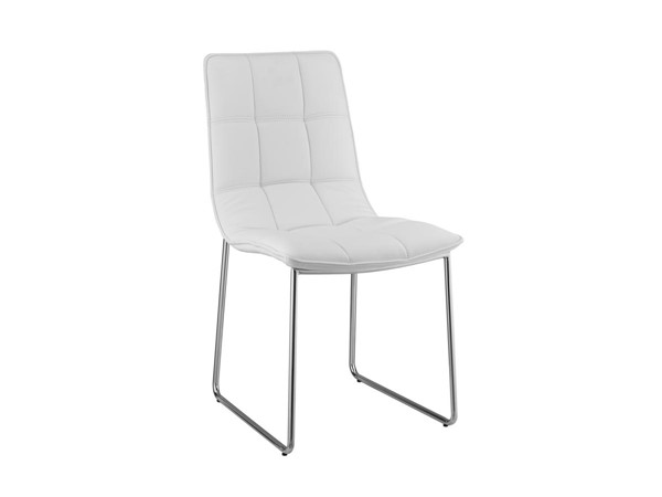 Casabianca Home Leandro White PU Leather and High Polished Stainless Steel Dining Chair CASA-CB-870White