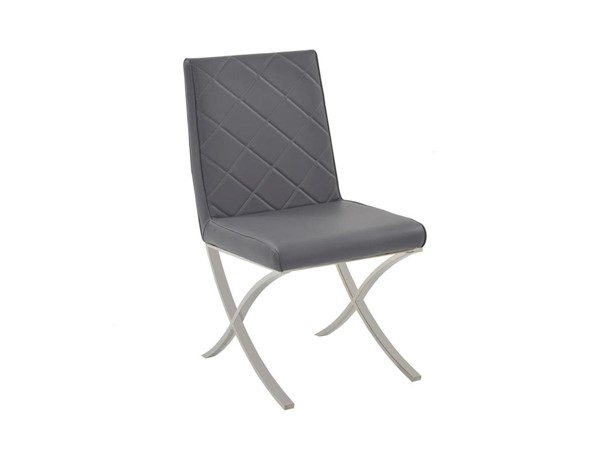 Casabianca Home Loft Dark Gray PU Leather High Polished Stainless Steel Dining Chair CASA-CB-922-G
