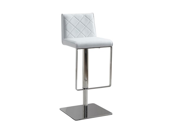 Casabianca Home Loft White PU Leather High Polished Stainless Steel Bar Stool CASA-CB-922-WH-BAR