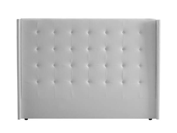 Casabianca Cozy White Eco Leather Tufted King Headboard CASA-CB-A017HB-KW