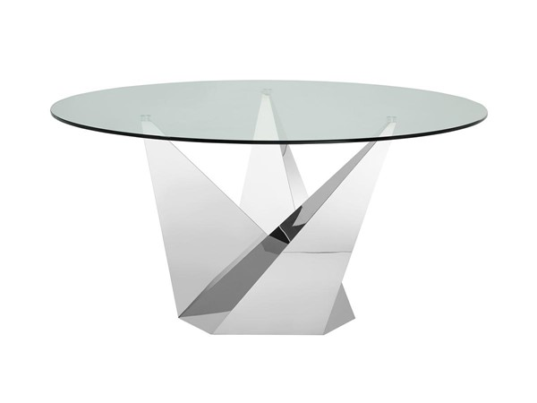 Casabianca Firenze Clear Glass Top  Round Dining Table CASA-CB-CT2063