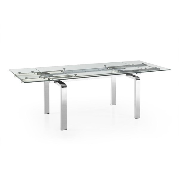 Casabianca Home Cloud High Polished Stainless Steel Clear Glass Dining Table CASA-CB-D2048-SS
