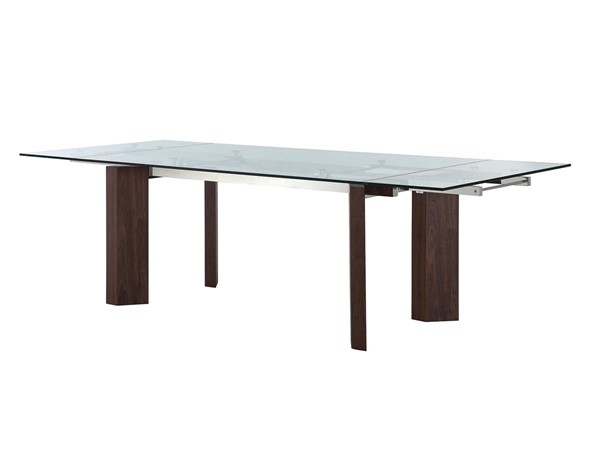 Casabianca Home Torino Walnut Veneer and Clear Glass Dining Table CASA-CB-D2048-WAL