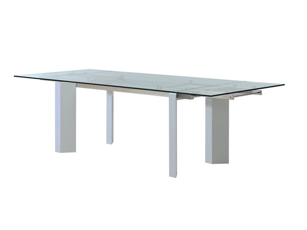 Casabianca Torino White Glass Top Extendable Dining Table CASA-CB-D2048-WHT