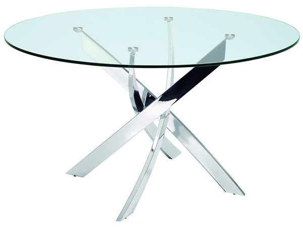 Casabianca Home Galaxy Clear Glass and Polished Stainless Steel Base Dining Table CASA-CB-F2133
