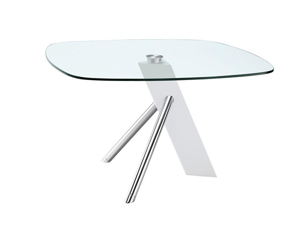 Casabianca Home Urban White Lacquer and Clear Glass Dining Table CASA-CB-F2170