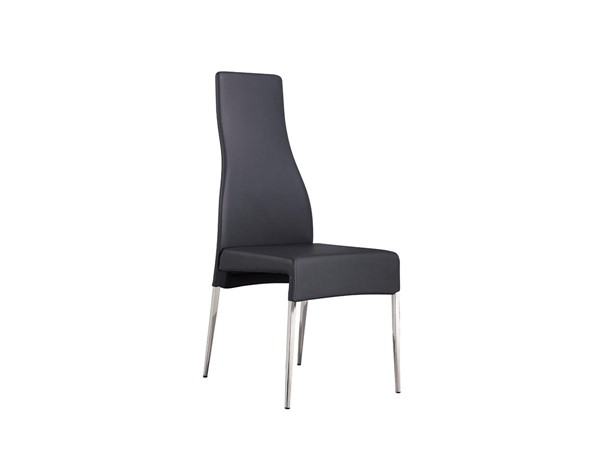 Casabianca Home Valentino Dark Gray PU Leather and High Polished Stainless Steel Dining Chair CASA-CB-F3151-G