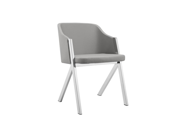 Casabianca Home Acorn Gray High Polished Stainless Steel Dining Chair CASA-CB-F3202-G