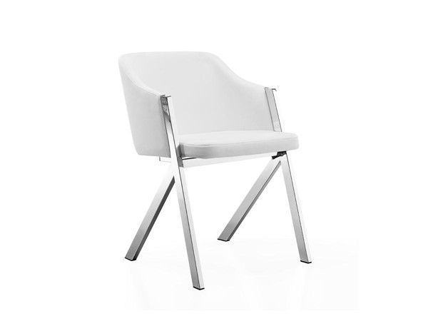 2 Casabianca Acorn Modern White Eco Leather Arm Dining Chairs CASA-CB-F3202-W