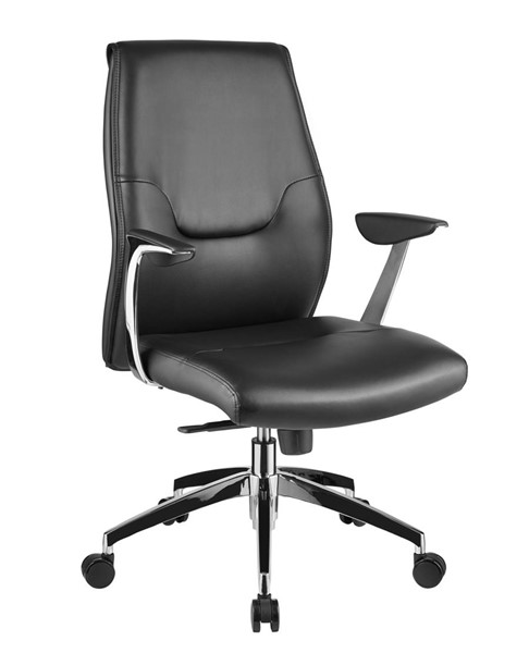 Casabianca Home Arena Black Leather and Chrome Plated Base Office Chair CASA-CB-O110-BL