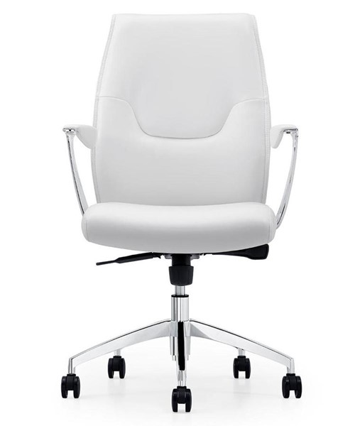 Casabianca Home Arena White Leather and Chrome Plated Base Office Chair CASA-CB-O110-WH