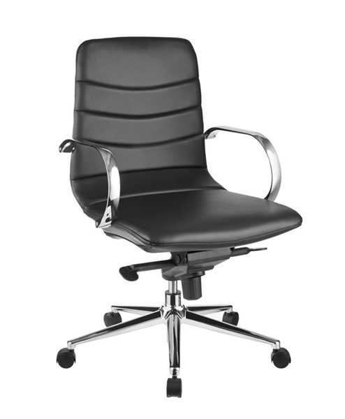 Casabianca Home Horizon Black PU Leather and Chrome Plated Base Office Chair CASA-CB-O115-BL