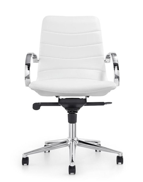 Casabianca Home Horizon White PU Leather and Chrome Plated Base Office Chair CASA-CB-O115-WH