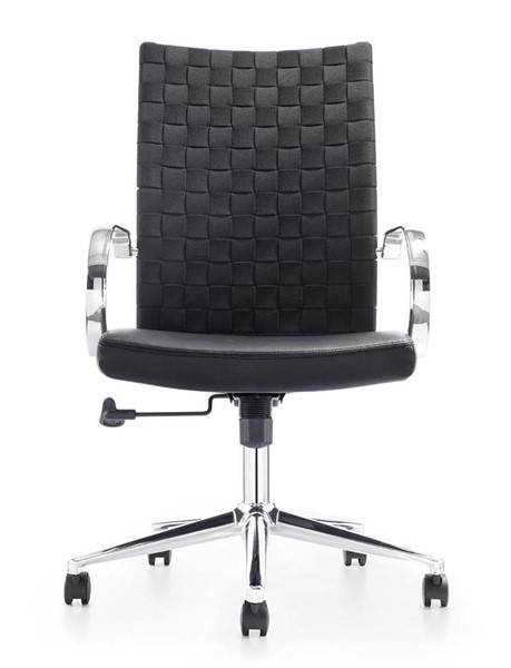 Casabianca Home Cubes Black PU Leather and Chrome Plated Base Office Chair CASA-CB-O118-BL