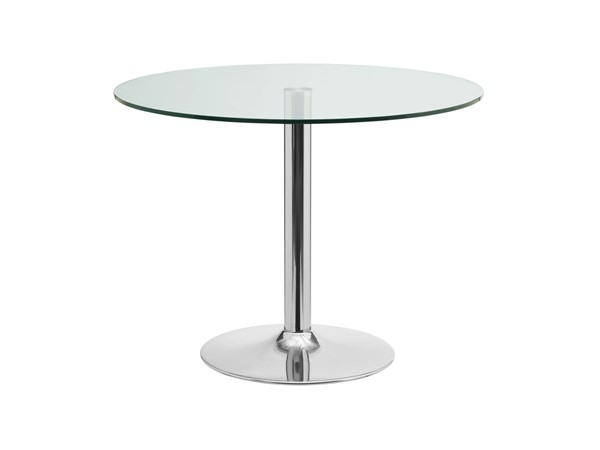 Casabianca Forte Clear Chrome Glass Round Dining Table CASA-CB-T016