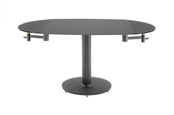 Casabianca Home Thao Gray Glass and High Polished Stainless Steel Dining Table CASA-CB-T030-GR