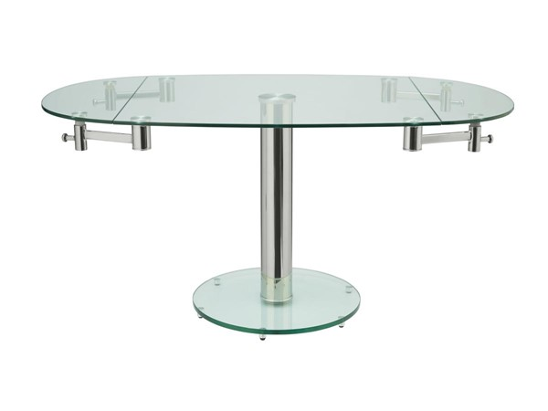 Casabianca Thao Modern Clear Glass Extendable Dining Table CASA-CB-T030