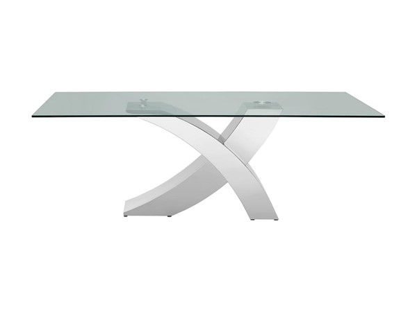 Casabianca Home Geneva Clear Glass and Polished Stainless Steel Base Dining Table CASA-CB-T034