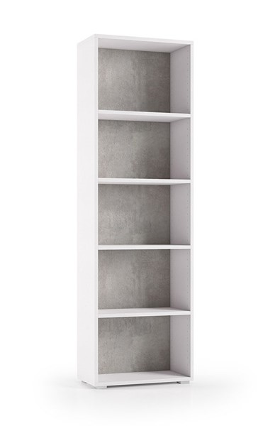Casabianca Home Jensen White Wood Grain and Light Gray Concrete Melamine 5 Shelves Bookcase CASA-KD-218WG4