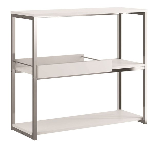 Casabianca Home Noa Matte White and Chrome Plated Console Table CASA-KD-B100WH