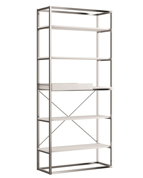 Casabianca Home Noa Matte White Bookcase With Removable Tray CASA-KD-B110WH