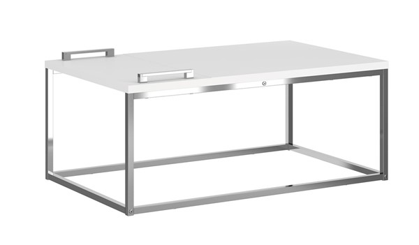 Casabianca Home Noa Matte White and Chrome Plated Cocktail Table CASA-KD-B120WH