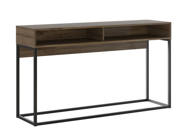 Casabianca Home Noa Dark Brown Oak Melamine and Black Painted Metal Rectangle Console Table CASA-KD-B130BO