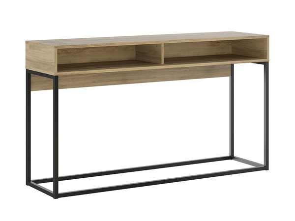 Casabianca Home Noa Oak Melamine and Black Painted Metal Rectangle Console Table CASA-KD-B130OK