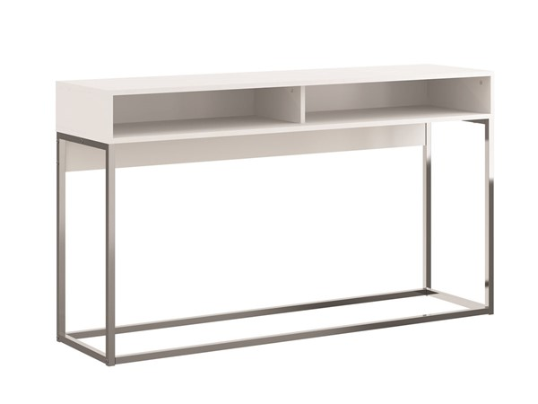 Casabianca Home Noa Matte White and Chrome Plated Rectangle Console Table CASA-KD-B130WH
