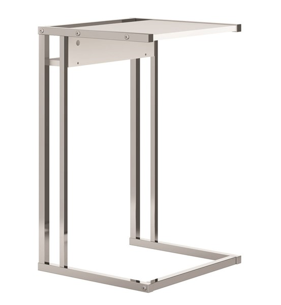 Casabianca Home Noa C Matte White and Chrome Plated End Table CASA-KD-B150WH