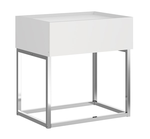 Casabianca Home Noa Matte White and Chrome Plated Nightstand CASA-KD-B160WH