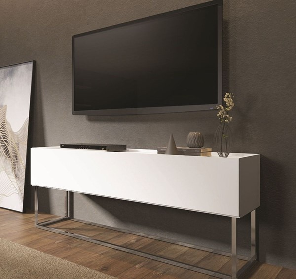 Casabianca Home Noa Matte White and Chrome Plated Low Entertainment Center CASA-KD-B170WH
