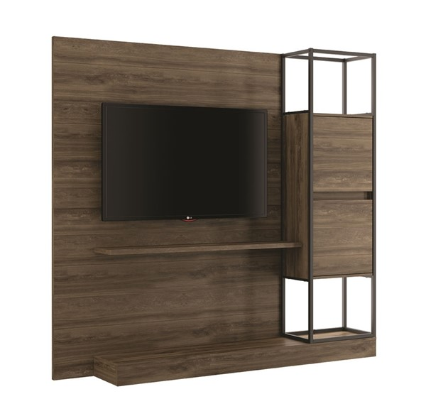 Casabianca Home Noa Oak and Black Painted Metal Tall Entertainment Centers CASA-KD-B180-ENT-VAR