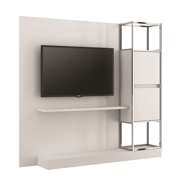 Casabianca Home Noa Matte White and Chrome Plated Tall Entertainment Center CASA-KD-B180WH