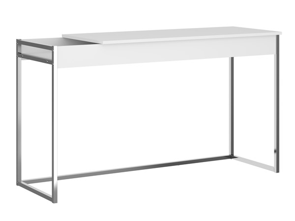 Casabianca Home Noa Matte White and Chrome Plated Office Desk CASA-KD-B190WH