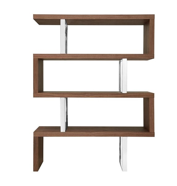 Casabianca Home Scala Walnut Veneer and High Polished Stainless Steel Bookcase CASA-TC-0074-WAL