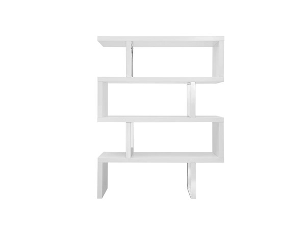Casabianca Home Scala White Lacquer and High Polished Stainless Steel Bookcase CASA-TC-0074-WH