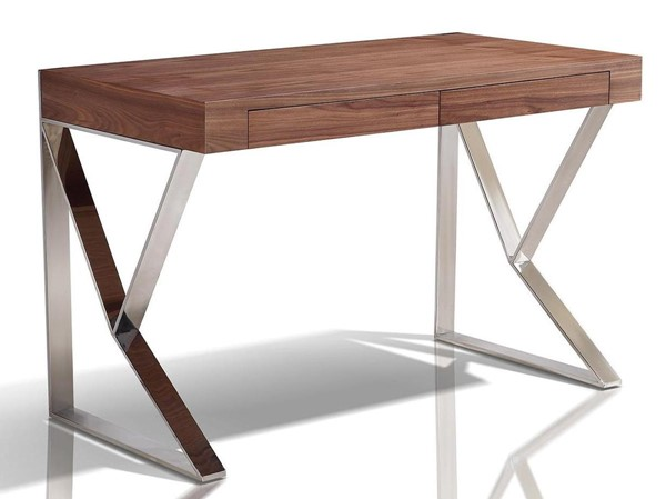 Casabianca Home York Walnut Veneer and High Polished Stainless Steel Office Desk CASA-TC-0098-WAL