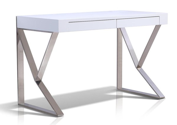 Casabianca Home York White Lacquer and High Polished Stainless Steel Office Desk CASA-TC-0098-WH